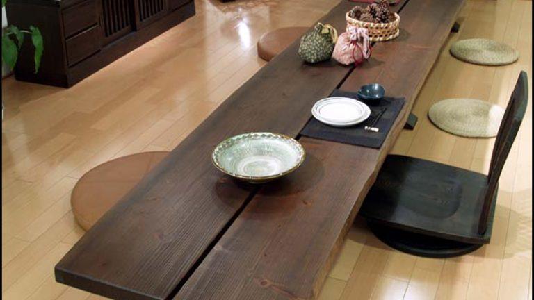 【アサヒ】杉ロングテーブル こだわりのオーダー可能な座テーブル
