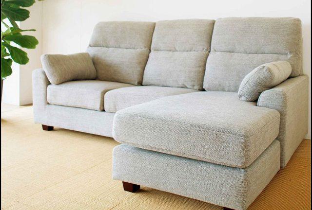 【松田家具】テンペスト ゆったり座れるファブリックカウチソファ