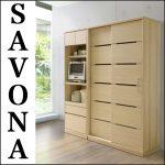 【シギヤマ】サボナ ホワイトオークのスライド食器棚シリーズ